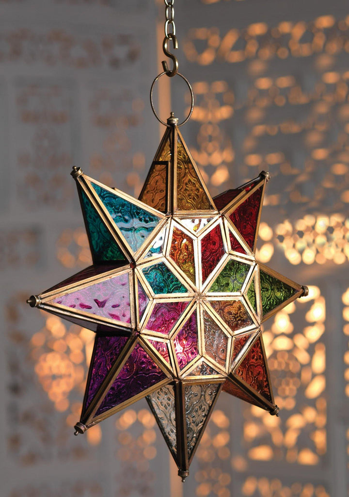 Moroccan Style Large Star Multicolour Glass Lantern