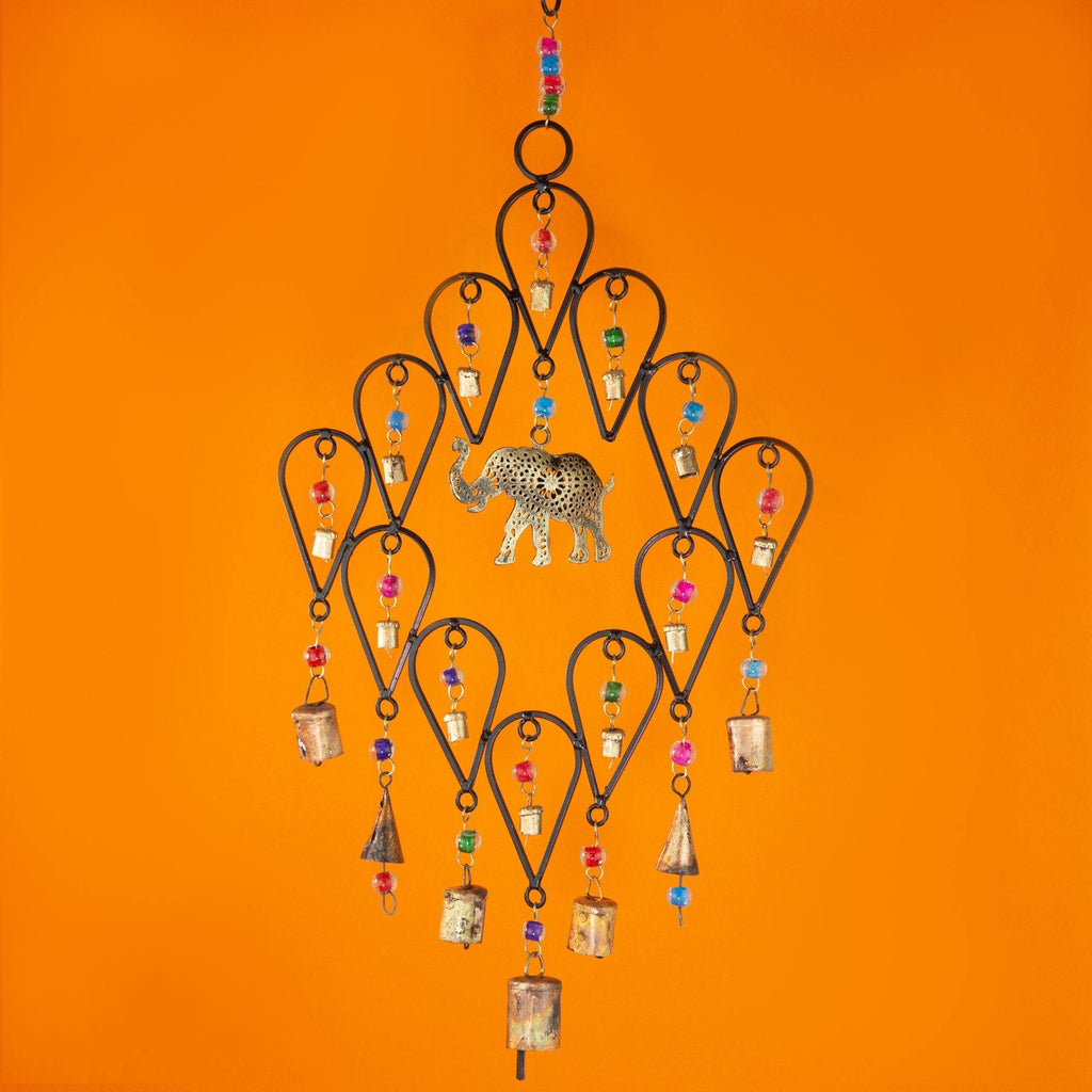 Elephant Windchime With Bells & Beads