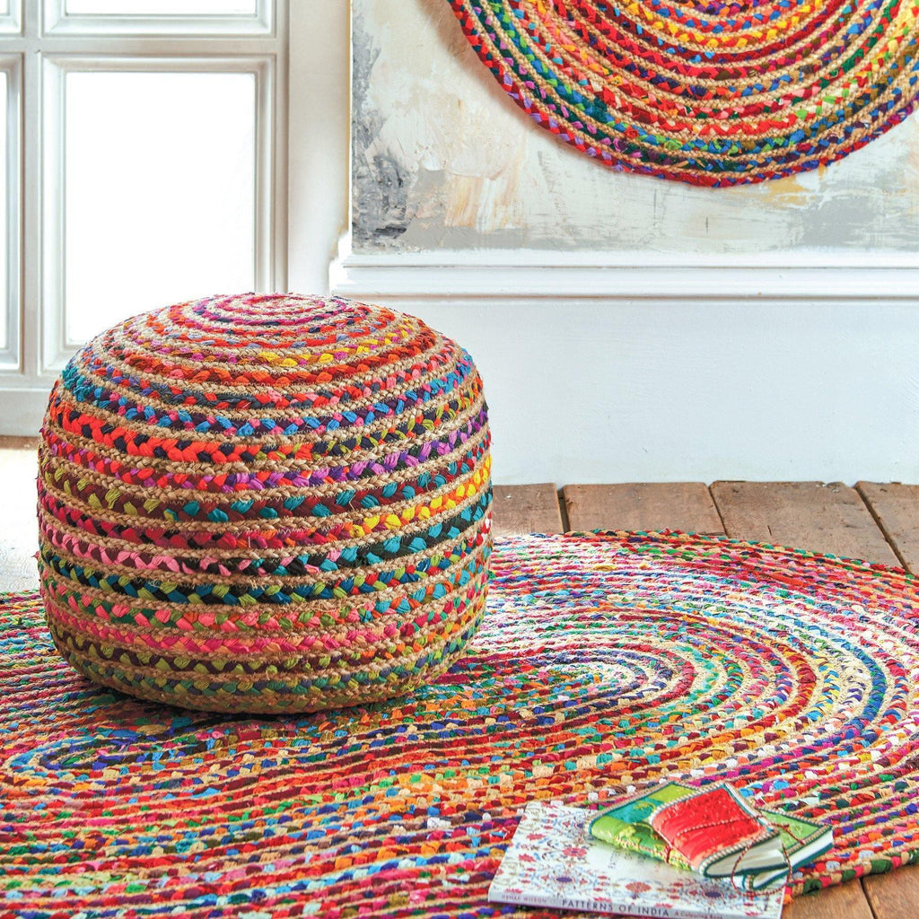 Multi Cotton Chindi & Jute Oval Rug