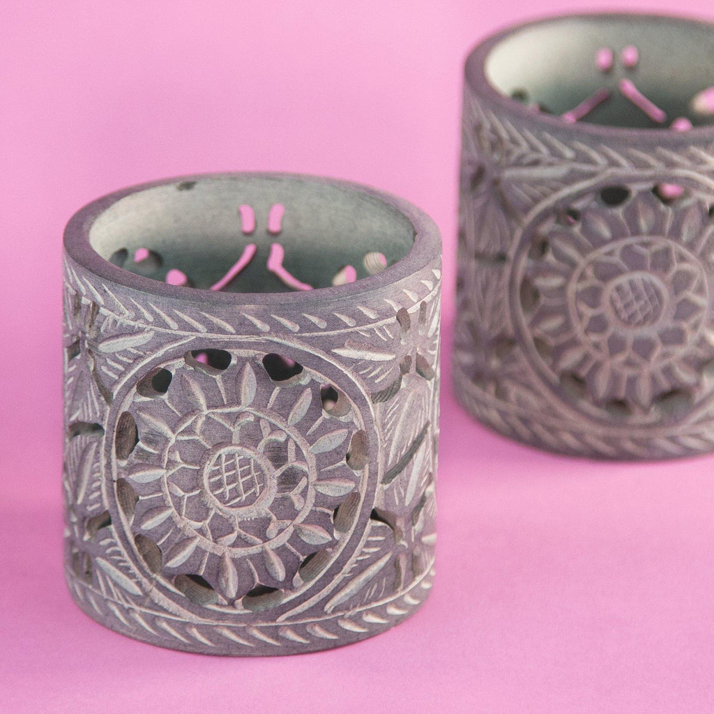 Soapstone floral design tealight holder grey