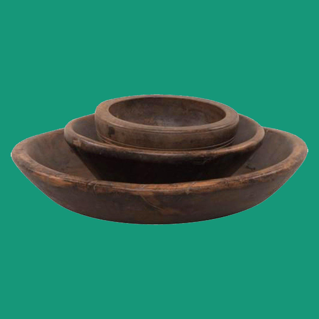 Chunky Vintage Wooden Bowls