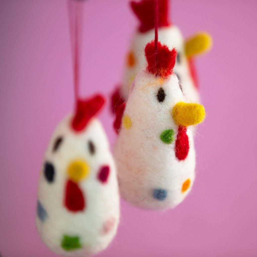 Spotty Felt Chicken Decoration