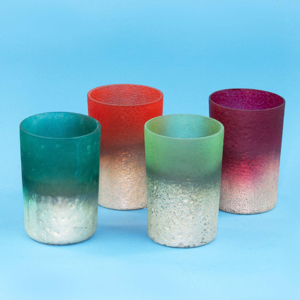 Set of 4 Frosted Dip-Dyed Votive
