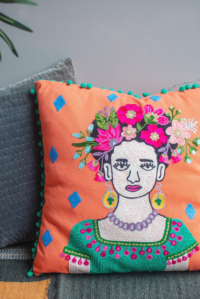 Frida with Jade Dress Cotton Cushion