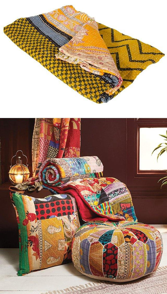 Multi Patchwork Kantha Throw
