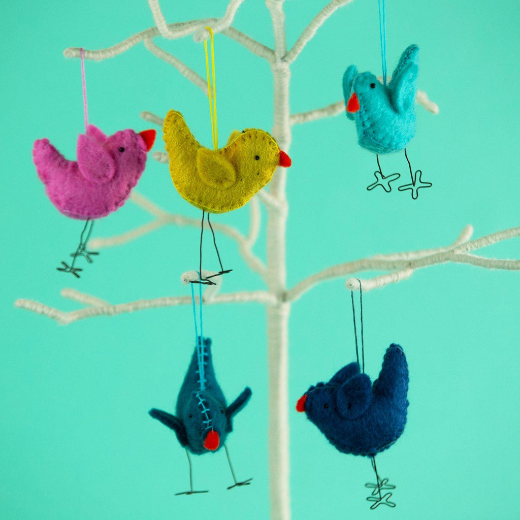 Hanging Felt Bird with Wire Legs