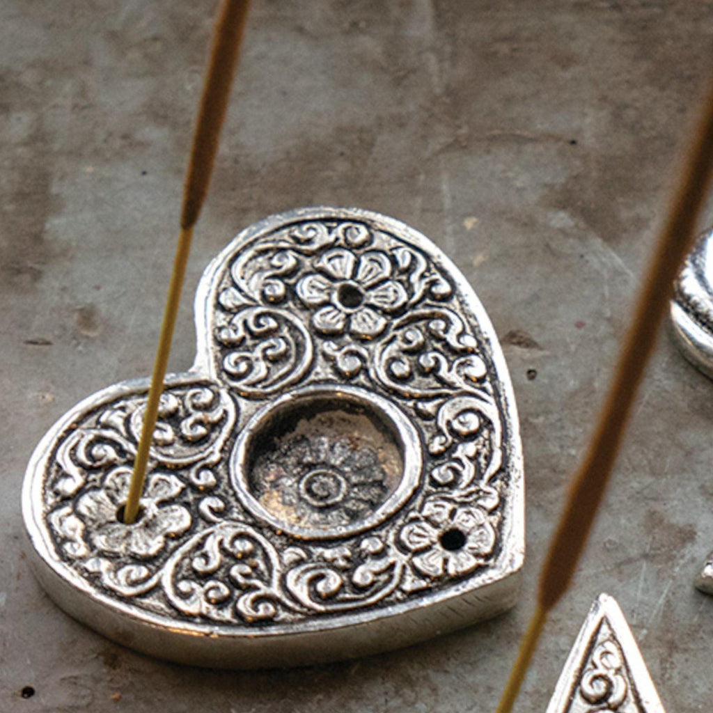 Metal Embossed Heart Shaped Incense Holder