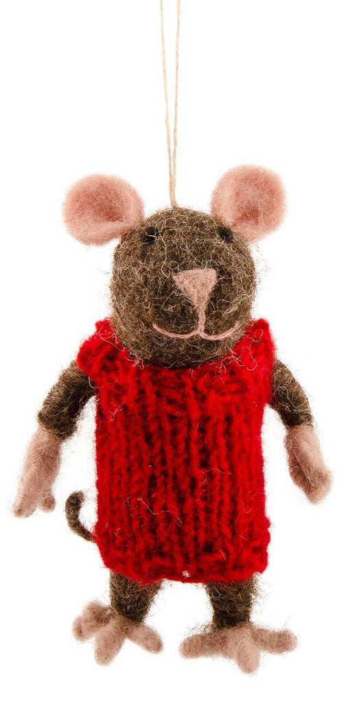Felt Mouse In A Knitted Dress
