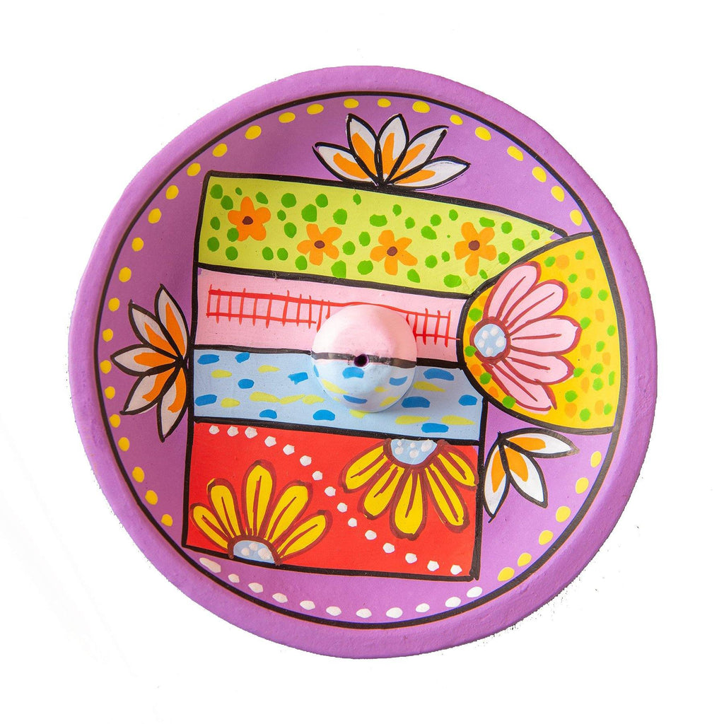 Purple Hand Painted Clay Plate Incense Holder