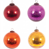 Large Foiled Baubles in Hot Colours