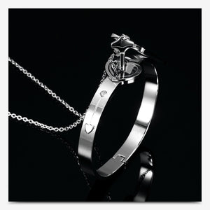Stainless Steel Couple Lovers Jewelry Love Heart Lock Bracelet
