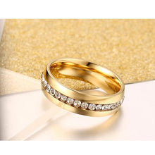 Stainless Steel crystal wedding ring for women 6mm