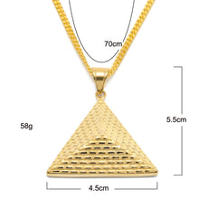 Stainless Steel Hip-hop Egypt Jewelry Pyramid Three-dimensional Inverted Triangle Pendant Women/Men Necklace