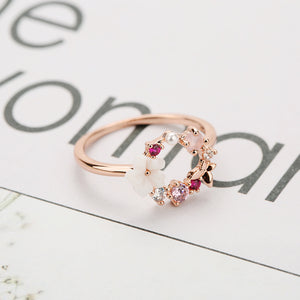 Crystal Finger Rings Fashion Creative Butterfly Flowers Rose Gold Zircon Glamour for Women