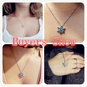 Zircon Flower Silver Necklaces Charm Vintage lady Blue Crystal Snowflake  & Pendants Jewelry for Women