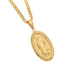 Stainless Steel Catholic Religious Virgin Mary Necklace Pendant  Gold Color Cross Medallion Necklace