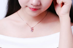 Pendant Necklace Cute Pink Opal Kitty  For Women