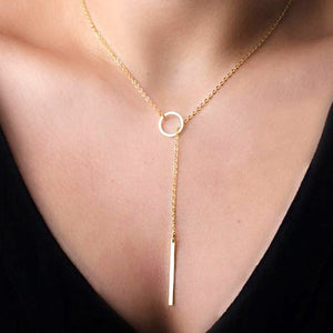 Long Strip Pendant Necklaces Women Accessories Hot Fashion Gold Silver Metal Chain Bar Circle Lariat Necklace  Jewelry