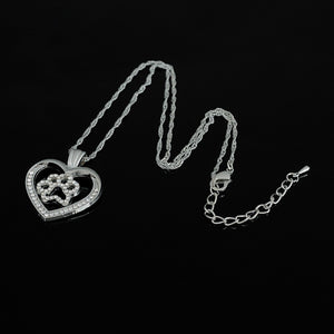 Crystal Paved Pendant Dog Cat Paw Heart Necklace for Women