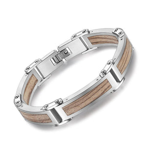 Wood Stainless Steel Trendy Wristband Bracelet - Steel Divines