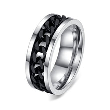 Stainless Steel Ring With Chain - Steel Divines
