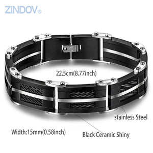 Stainless Steel Black Cable Bracelet Bangle For Mens Black Ceramic Luxury Wristband Heavy - Steel Divines