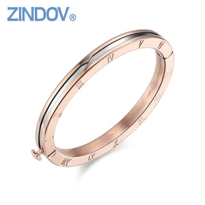 Popular Roman Numerals 316L Stainless Steel Rose Gold Women Bracelet Bangle Famous Brand Snap Button Jewelry High Quality bijoux - Steel Divines