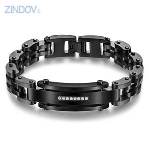 Stainless Steel Polished BraceleIts For Men IP Black Cubic Zirconia CNC Setting Link Chain Wristband Best Classic Jewelry - Steel Divines