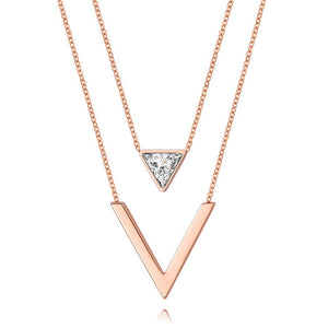 Stainless Steel Triangle V Letter CZ Double Chain Necklaces - Steel Divines