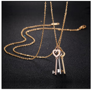 Long Necklace Key Stainless Steel - Steel Divines