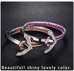 Anchor Steinless Steel Leather Bracelet - Steel Divines