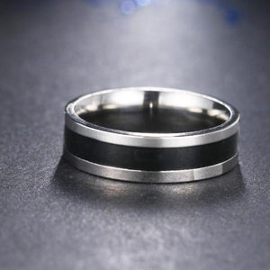 Stainless Steel Wide Black Strip Ring - Steel Divines