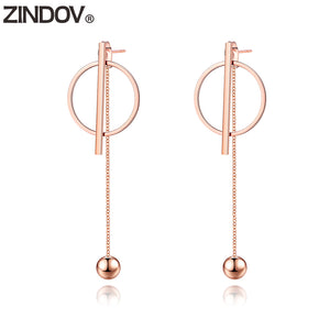 Long Dangle Drop Earrings - Steel Divines