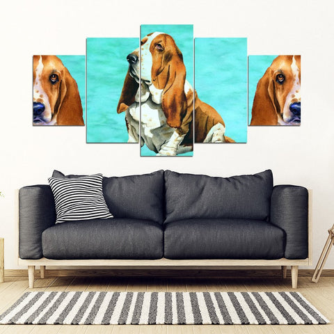 Basset Hound 5 Piece Framed Canvas- Free Shipping