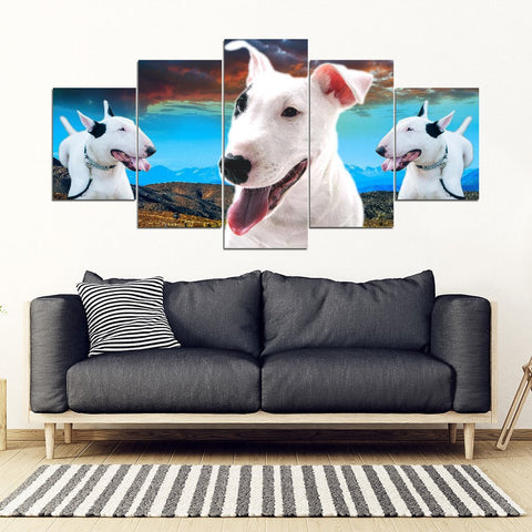 Bull Terrier 2 Print- Piece Framed Canvas- Free Shipping