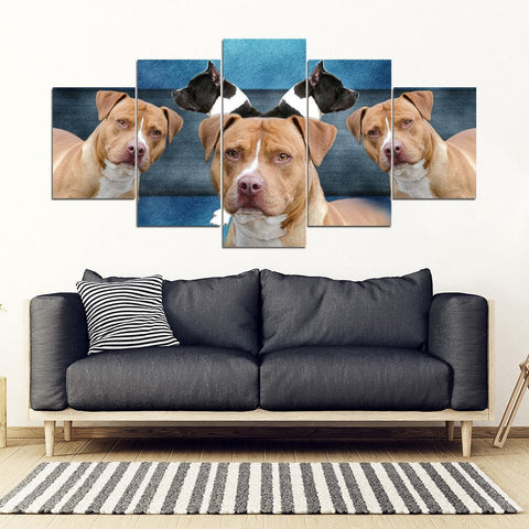 American Staffordshire Terrier Print- Piece Framed Canvas- Free Shipping