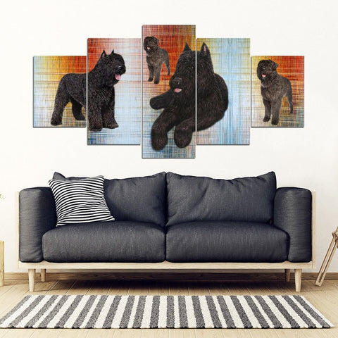 Bouvier Des Flandres Print-5 Piece Framed Canvas- Free Shipping