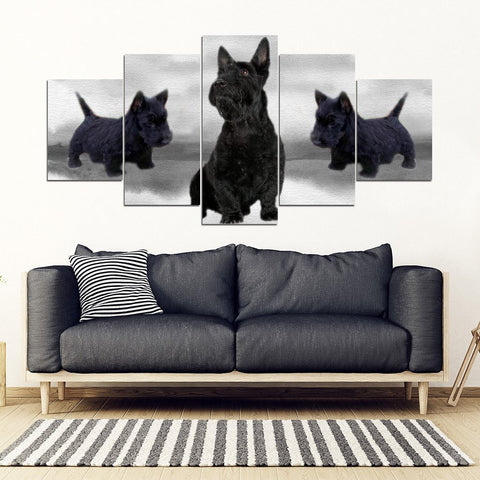 Scottish Terrier Print-5 Piece Framed Canvas- Free Shipping