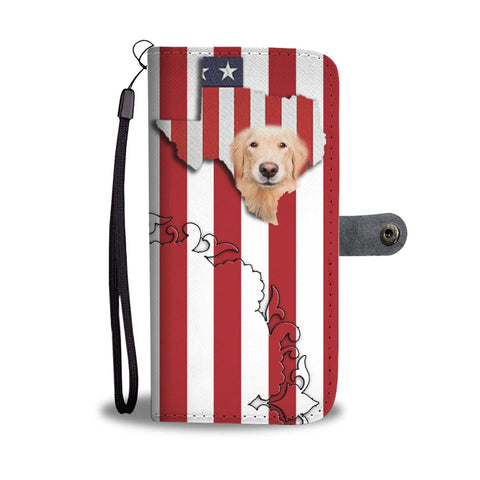 Cutest Golden Retriever Floral Print Wallet Case-Free Shipping-TX State
