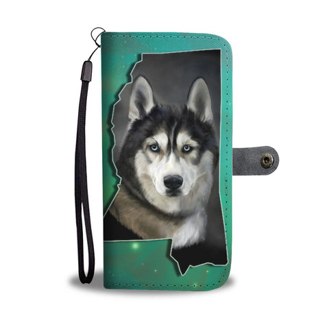 Siberian Husky Print Wallet Case-Free Shipping-MS State