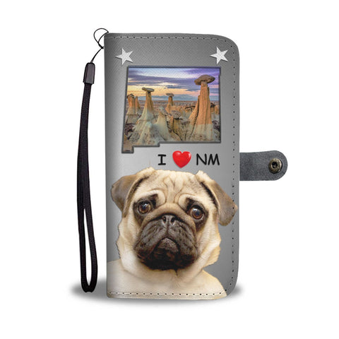 Cute Pug Dog Print Wallet Case-Free Shipping-NM State