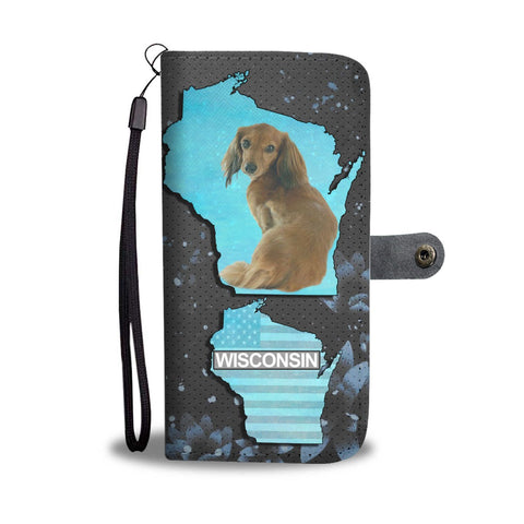 Cute Dachshund Dog Print Wallet Case-Free Shipping-WI State