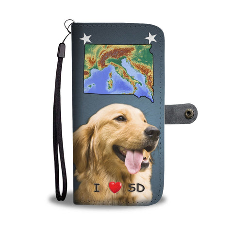 Lovely Golden Retriever Print Wallet Case-Free Shipping-SD States