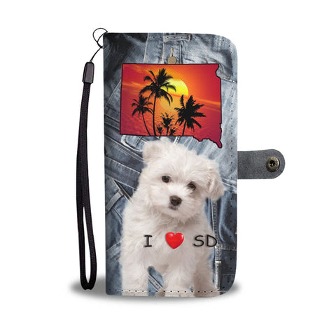 Cute Maltese Dog Print Wallet Case-Free Shipping-SD State