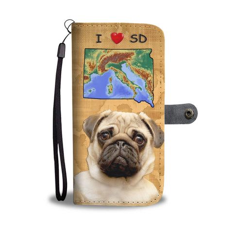 Lovely Pug Dog Print Wallet Case-Free Shipping-SD State