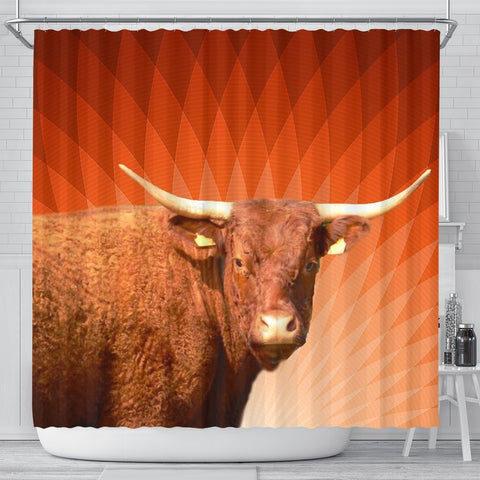 Amazing Salers Cattle (Cow) Print Shower Curtain-Free Shipping
