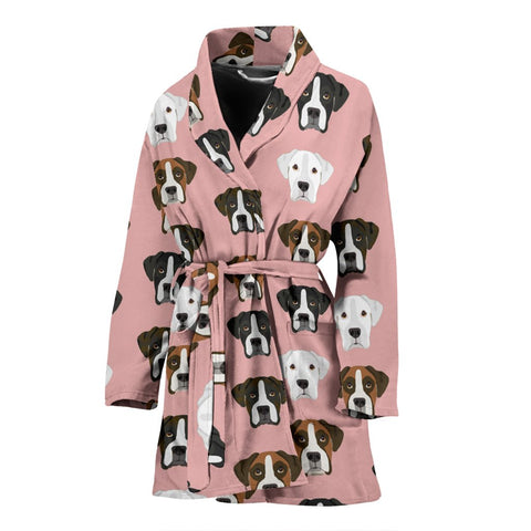 Boxer Dog Pattern Print Women's Bath Robe-Free Shipping