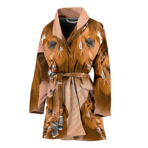 Amazing Quarter Horse Print Women's Bath Robe-Free Shipping