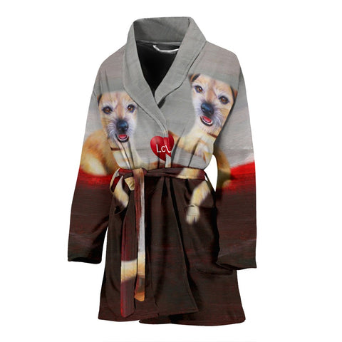 Border Terrier Love Print Women's Bath Robe-Free Shipping