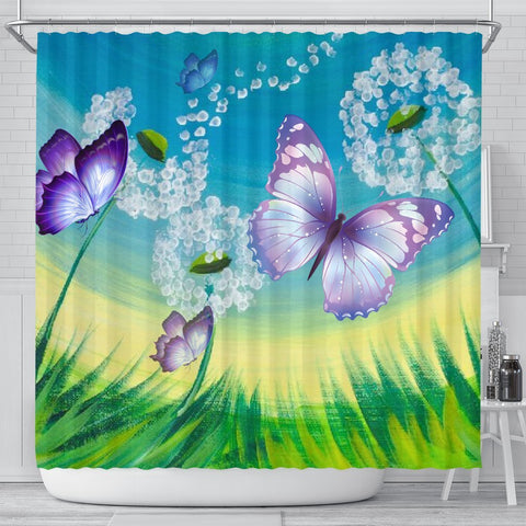 Butterfly Print Shower Curtain-Free Shipping